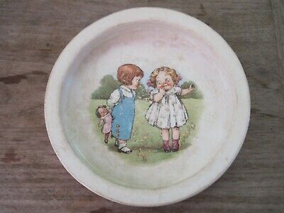 Very Old Buffalo Pottery Dish/Bowl, Design Looks Like Campbell Soup Kids,Crazing