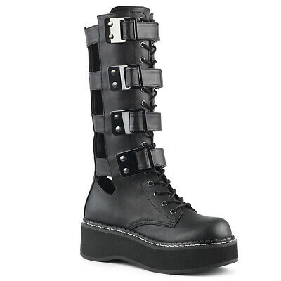 0f72848361817 Black Womans Platform Knee High Goth Gothic Buckle Boots Cut Outs Demonia  Emily