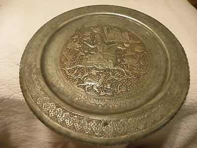 Antique/vintage thick  tin on copper Persian or Middle Eastern tray