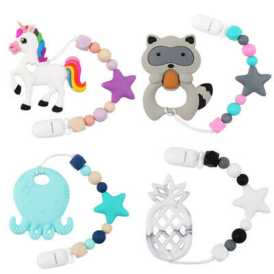 Baby Silicone Teether Teething Beads Bracelet Pacifier Chain Chewing BPA Free