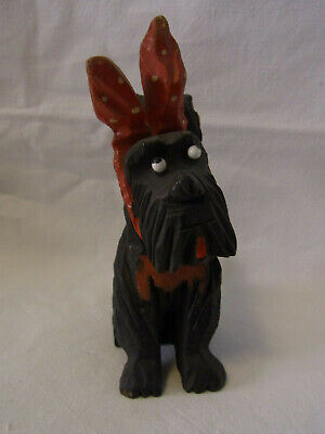 Vintage German Art Deco Style Wood Carved Dog Figurine #CM