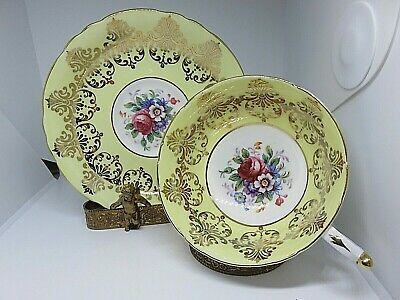 Paragon  Yellow Wide Mouth Cup And Saucer Heavy Gold Detail Floral Bouquet