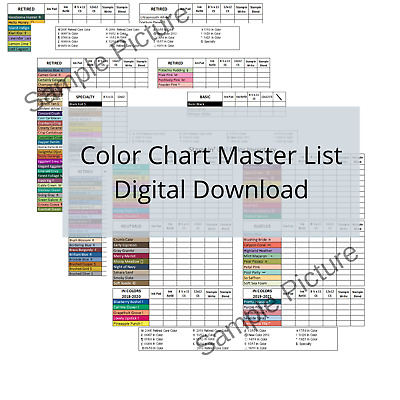 Stampin Up Tool Paper Cardstock Color Reference Chart Inventory Organization