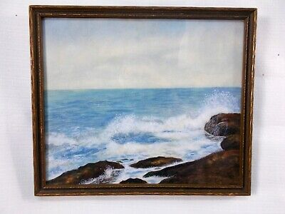 Framed Watercolor Painting Waves Crashing on Shore Rocks Maritimes Seashore NS