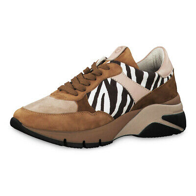100% authentic a7c41 775c4 TAMARIS DAMEN PLATEAU Sneaker Colocr Blocking Leder Schuhe Cognac Zebra  (beige)