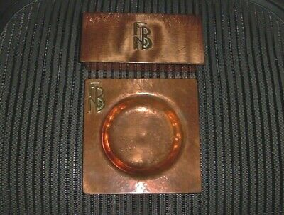 Elegant ARTS CRAFTS Signed AKB COPPER 4 Section BOX and ASHTRAY Hand Crafted SET