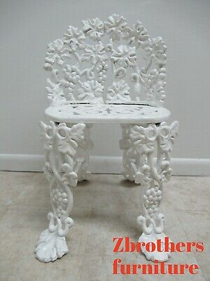 Antique Victorian Cast Iron Pierce Carved Garden Seat Bench Chair Grapes Vines B