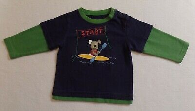 Ll Bean Baby Infant Guc Boys 12-18 Months Shirt Dog Canoe Rugby Sleeve