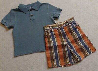 The Children's Place Tcp Boys 24 Months Vguc Blue Polo Shirt Plaid Shorts