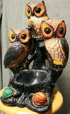 Vintage McM Made In Mexico 3 Owl Trio Planter Sculpture Mexican Folk Art Signed