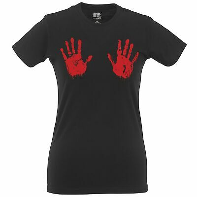 Halloween Womens TShirt Scary Bloodied Hand Prints Spooky Monster Bloody