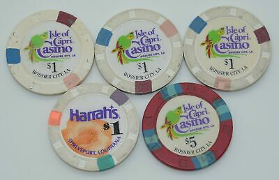 Set of 5 Mix Louisiana $1-$5 Casino Chips Isle of Capri-Harrah's H&C Paul-son