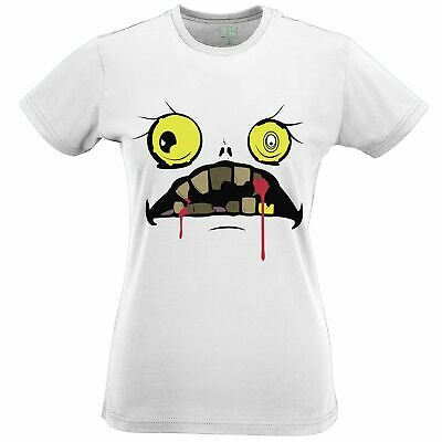 Halloween Womens TShirt Scary Zombie Ghoul Face Bloody Fanged Monster Haunted
