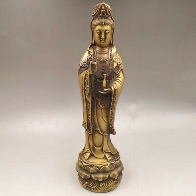 """13.3"""" Chinese Antique Old copper to create wealth lucky Guanyin Home decoration"""