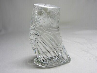 Waterford Crystal Vtg Owl Figurine Clear Glass Sculpture Paperweight Ireland