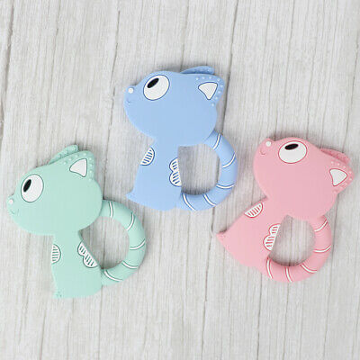 Cartoon Cat Kids Baby Teether Silicone Pacifier Soother Teething Toy Gift