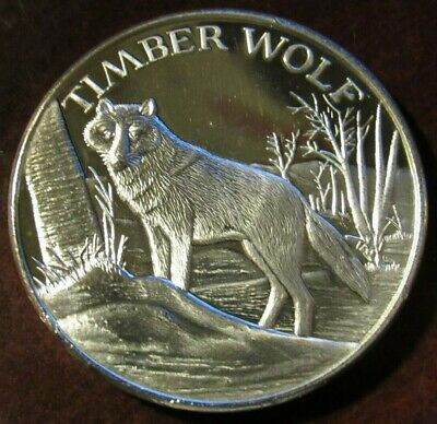 Timber Wolf North American Wildlife Series 2 Troy Oz. .999 Fine Silver Round