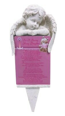 Grave Card Daughter Graveside Plaque Holder Stake Ornament Statue Angel Memorial