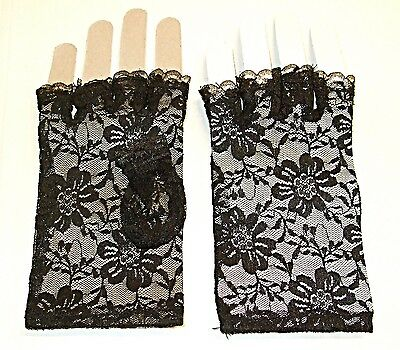 Vintage Style Netted Black Lace Fingerless Gloves  Classical Goth Steam Punk