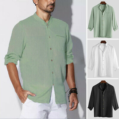 AU Men's Vintage Button Beach Long Sleeve Shirts Casual Slim Fit Tops Tee Autumn