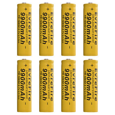 8x 18650 9900mAh Li-ion 3.7V Rechargeable Battery for LED Flashlight Torch RC990