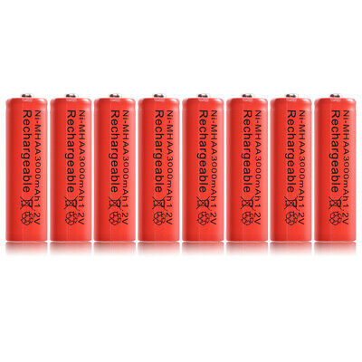 8pcs Ni-MH AA 3000mah 1.2V Rechargeable Batteries Battery Nickel Hydride RC1028
