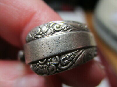 Sterling Silver 925 Towle Vintage Candlelight Flower Etched Spoon Ring Size 7