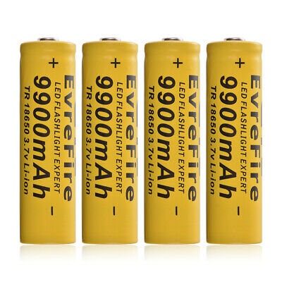 4x 18650 9900mAh Li-ion 3.7V Rechargeable Battery for LED Flashlight Torch RC989