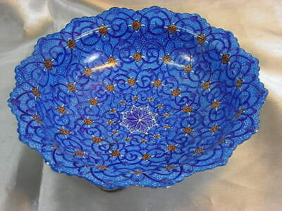 Ancien Islamic Coupe Coupelle Cuivre Emaille Emaux Enamel Syrien Ottoman Persane
