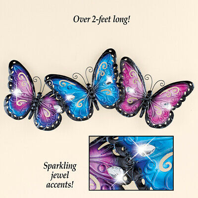 Lovely Butterfly with Sparkling Jewels Metal Home Wall Art