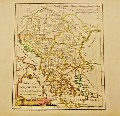BEAUTIFUL  Map of Hongrie, Turquie Europ 1762 HUNGARY TURKEY COLOR FRAMEABLE