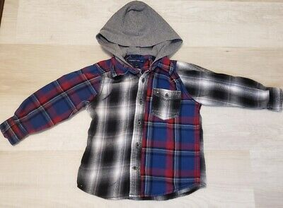Tommy Hilfiger Boys Toddler Hooded Plaid Flannel Shirt Button Down - Size 2T
