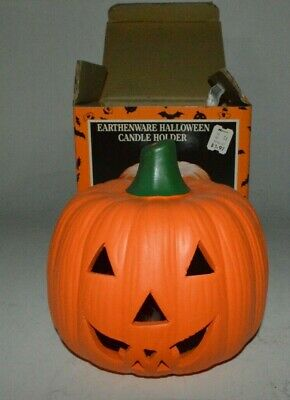 Vintage Halloween Earthenware Pumpkin Jack o' Lantern Candle Holder K-Mart