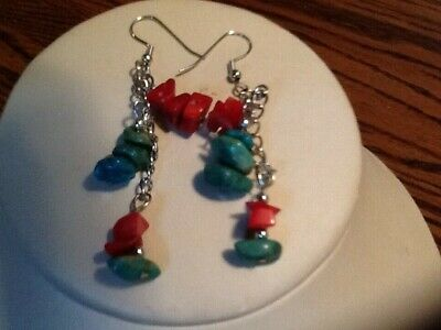 Genuine Turquoise/Coral Silver Plated Dangle Earrings
