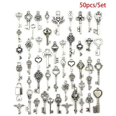 50PCS Mixed Antique Tibetan silver Jewelry Keys Charms Pendant Carfts DIY Finds