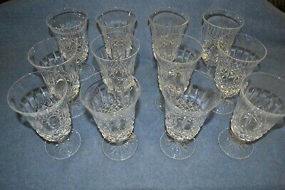 "Waterford Crystal 12 Footed Iced Tea / Iced Beverage Glasses 6 3/8"" Tall WAT57"
