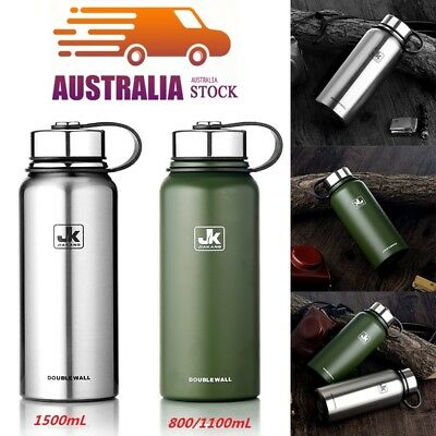 *Double Walled Vacuum Insulated Stainless Steel Water Drinks Bottle 0.8/1.1/1.5L