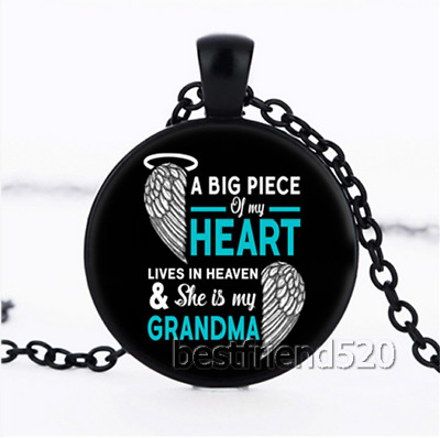 A Big Piece of My Heart Lives In Heaven My Grandma Cabochon Glass Necklace