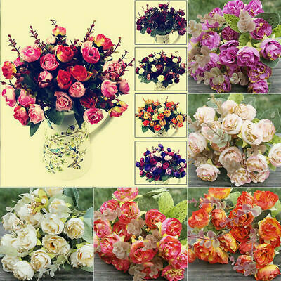 21 HEADS ARTIFICIAL SILK FLOWERS ROSE BUNCH Wedding Home Grave Outdoor Bouquet