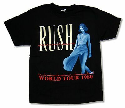 "RUSH ""WORLD TOUR 1980"" BLACK BAND T-SHIRT NEW OFFICIAL ADULT Size S-XXL"