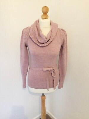 Monsoon Jumper Small 8 Pink Roll Neck Wool Blend Pretty Bell Sleeves Autumn J1