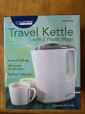 Lloytron E886 Travel Kettle with Cups Universal Dual Voltage Compact 0.9L *New