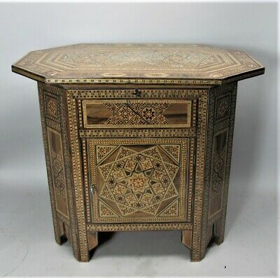 Meticulously Inlaid ANTIQUE SYRIAN Cabinet w/ Hidden Compartment & Keys  c. 1900