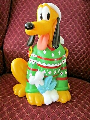 Disney Parks Pluto Popcorn Bucket Green Christmas Sweater 12""