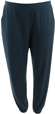 Lisa Rinna Collection Knit Cropped Jogger Pants Dark Sapphire XL NEW A341719