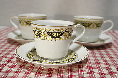 LOT of 3 Noritake Nitto Ware Felicity 2001 Black Gold Tea Cup & Saucer SETS