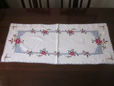 Large Pink Roses Cross Stitch Embroidered Long Table Runner