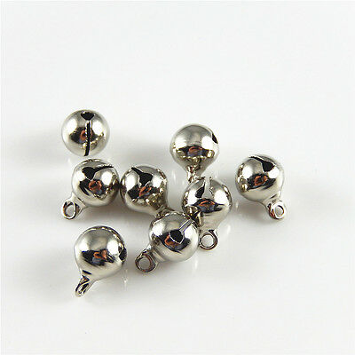 100 pcs Silver Plated Brass Mini Jingle Bell Charm Necklace Pendant Findings