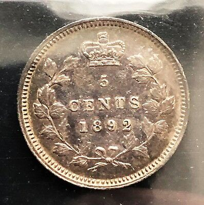 1892 Canada Silver 5 Cents Coin **ICCS Graded VF-30, Obverse 2** Trends at $140