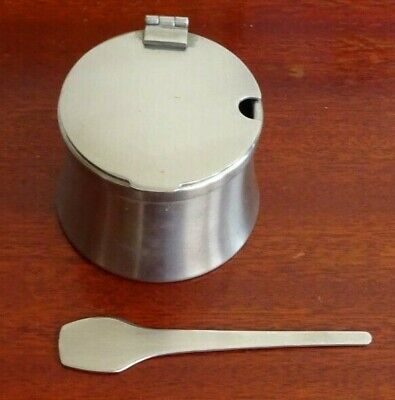 Vintage Old Hall Robert Welch Design Mustard Pot & Spoon Stainless Steel
